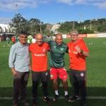 Foto em treinamento realizado no CT do Internacional com Ademir Caloi, Dulac , Maia e Odair profissionais do Sport Club Internacional