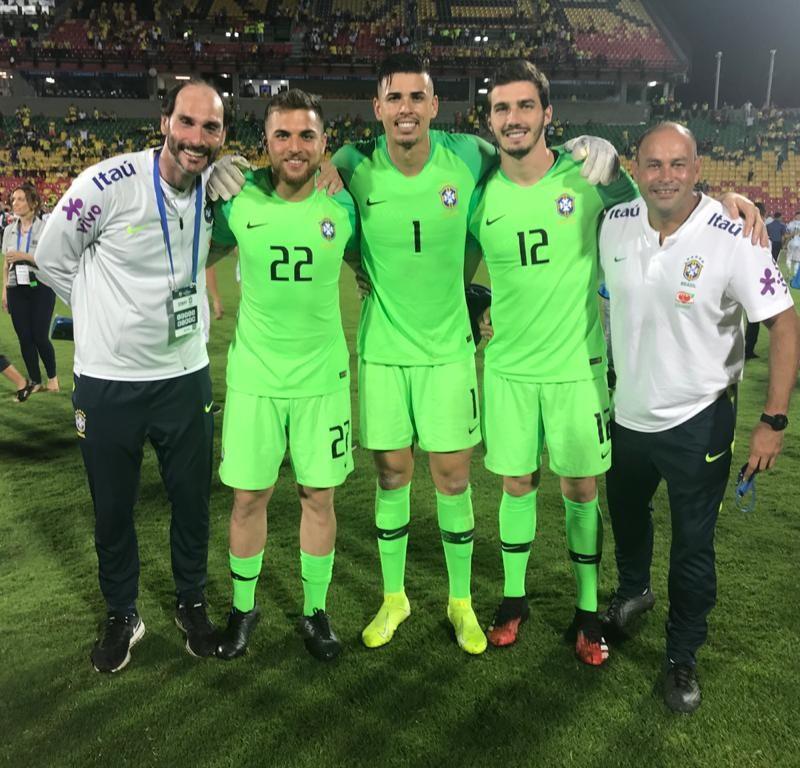 Vaga da Olimpíada de Tokio com os goleiros Ivan, Cleiton, Phelipe e o supervisor Thiago.
