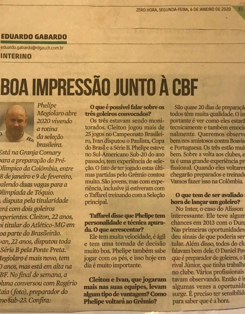 Boa impressão junto à CBF